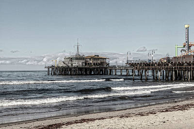 Rollercoaster Photograph - Pacific Park On The Pier-desaturated by Gene Parks