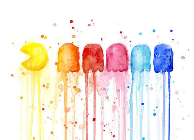 Watercolor Painting - Pacman Watercolor Rainbow by Olga Shvartsur
