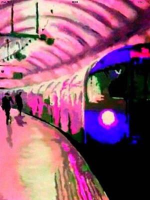London Tube Painting - Paddington  by Sara Sutton
