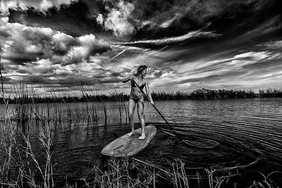 Paddle Boarding Print by Kevin Cable
