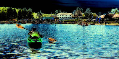 Canoe Photograph - Paddling In Old Forge Pond by David Patterson