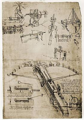 Pen And Ink Drawing Photograph - Page From The Notebooks Of Leonardo Da by Everett