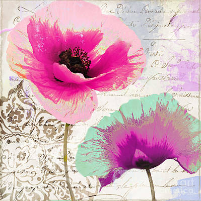 Paint And Poppies II Print by Mindy Sommers