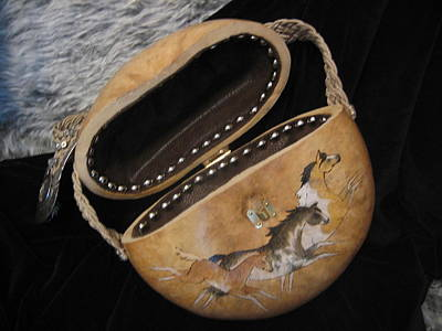 Horse Purse Mixed Media - Paint Horse Gourd Purse by Barbara Prestridge