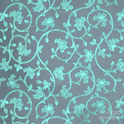 Platinum Mixed Media - Painted Electric Blue Damask On Bermuda Gray Linen by Tina Lavoie