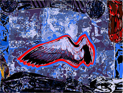 Red Tail Hawks Mixed Media - Single Bird Wing With Red In Blue Space by F Burton