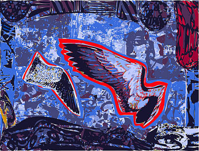 Two Bird Wings In Blue Space With Dark Border Print by F Burton