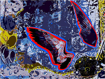 Red Tail Hawks Mixed Media -  Two Bird Wings In Landscape by F Burton