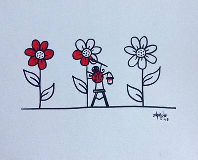 Ladybug Drawing - Painted Daisies  by Apryl Gaudet