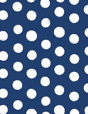 Painted Dots Blue Print by Arte Flora Design Studio