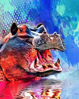 Hippopotamus Digital Art - Painted Hippopotamus  by Scott Wallace