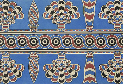 Papyrus Tapestry - Textile - Painted Ornaments From Nimroud, From Monuments Of Nineveh by Austen Henry Layard
