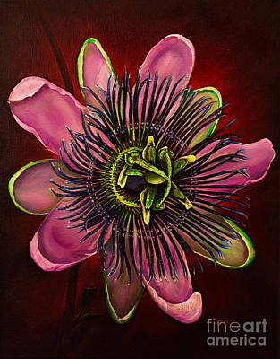 Passiflora Painting - Painted Passion Flower by Zina Stromberg