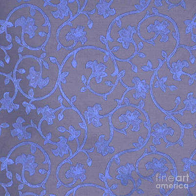Platinum Mixed Media - Painted Periwinkle Blue Damask On Gray Linen by Tina Lavoie