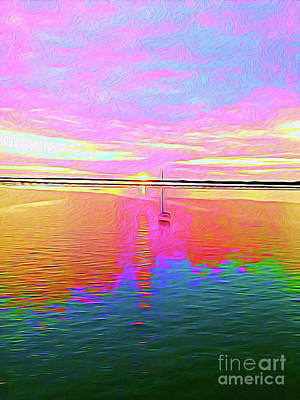 Beach Landscape Mixed Media - Painted Sailboat Sunset by Chris Andruskiewicz