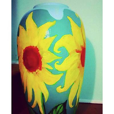 Sunflowers Photograph - Painted Sunflowers On A Huge Vase by Genevieve Esson