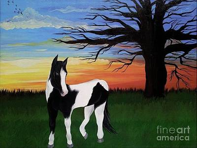Horse Painting - Painted Sunset by Amanda Gervais
