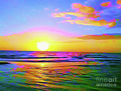 Beach Landscape Mixed Media - Painted Sunset by Chris Andruskiewicz