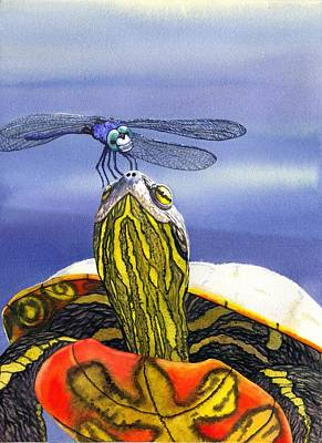 Painted Turtle And Dragonfly Print by Catherine G McElroy