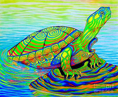 Painted Turtle Print by Rebecca Wang