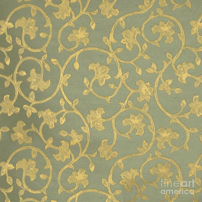 Platinum Mixed Media - Painterly Chenin Gold Damask On Sage Linen by Tina Lavoie