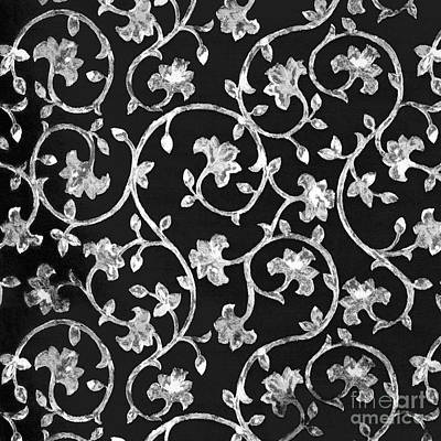 Platinum Mixed Media - Painterly Silver Damask On Black Linen by Tina Lavoie