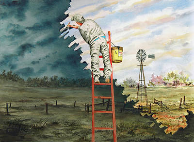Ladder Painting - Paintin Up A Storm by Sam Sidders
