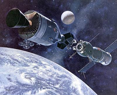 Painting Of Apollo-soyuz Test Project Print by Everett