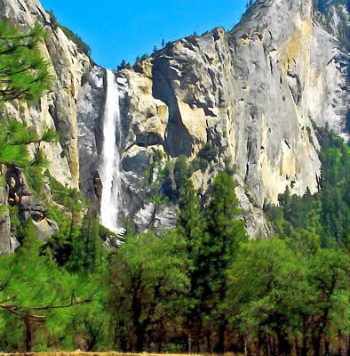 High Sierra Digital Art - Painting Of Bridalveil Falls Yosemite National Park by Bob and Nadine Johnston