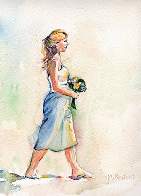 Wedding Bouquet Painting - Painting Of Bridesmaid In Watercolor by Maria's Watercolor