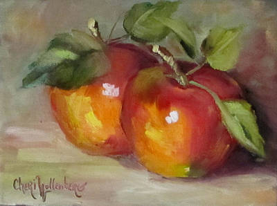 Painting Of Delicious Apples Print by Cheri Wollenberg