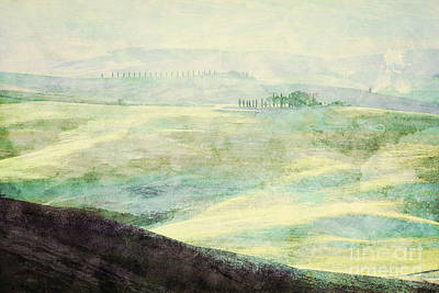 Fog Photograph - Painting Of Tuscany Landscape At Sunrise by Michal Bednarek