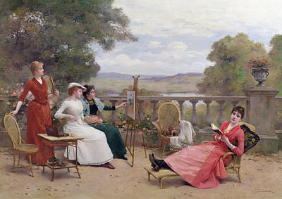 Wicker Chair Painting - Painting On The Terrace by Jules Frederic Ballavoine