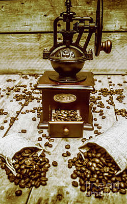 Old Grinders Photograph - Pair Coffee Bean Bags Spilled In Front Of Grinder by Jorgo Photography - Wall Art Gallery