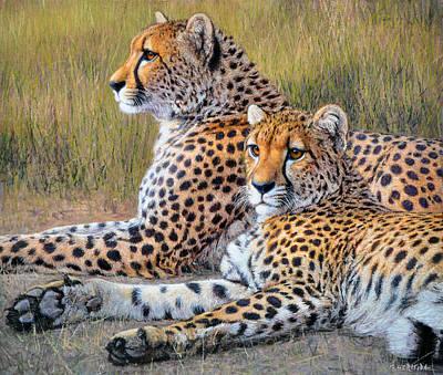 Mammals Painting - Pair Of Guepards by Gabriel Hermida