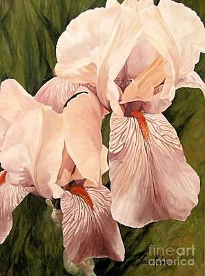 Print Of Irises Painting - Pair Of Peach Iris  by Laurie Rohner