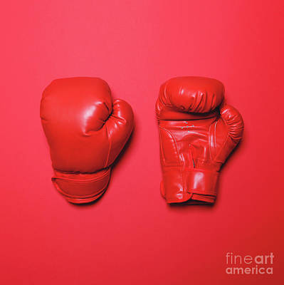 Kick Boxer Photograph - Pair Of Red Boxing Gloves On Red Background - Flat Lay Minimal D by Aleksandar Mijatovic