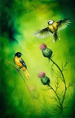 Pair Of Songbirds Flattering Above A Distel Flower, On An Emerald Green Background Print by Jozef Klopacka