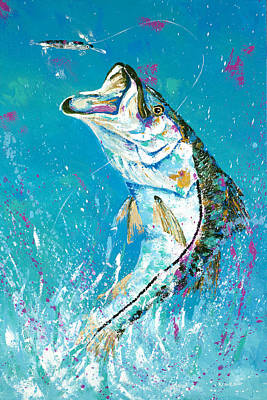 Pallet Knife Jumping Snook Original by Kevin Brant