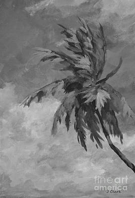 Palm Trees Painting - Palm Against Clouds  Monochrome by John Clark