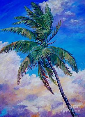 Acrylics Painting - Palm And Clouds by John Clark