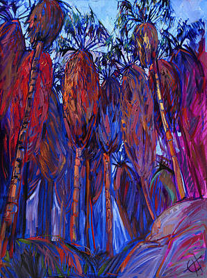 National Parks Painting - Palm Oasis by Erin Hanson