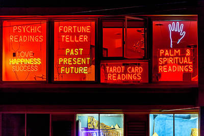 Window Signs Photograph - Palm Reading Windows by Garry Gay