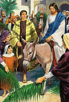 Donkey Painting - Palm Sunday by Clive Uptton