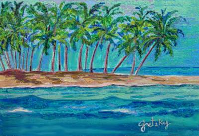 Water Painting - Palm Tree Island by Paintings by Gretzky
