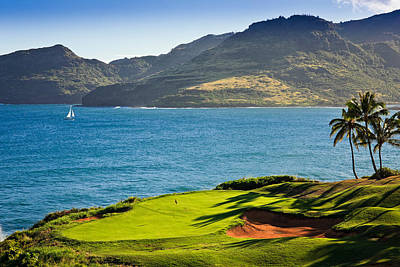 Palm Trees In A Golf Course, Kauai Print by Panoramic Images