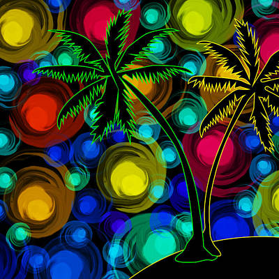 Palm Trees Print by Mihaela Pater