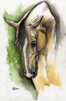 Palomino Arabian Horse Watercolor Portrait 1  Print by Angel  Tarantella