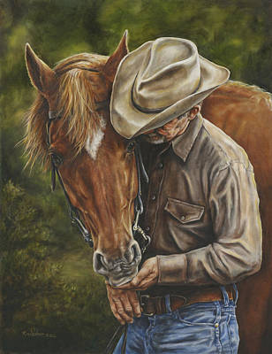 Cowgirls Painting - Pals by Kim Lockman