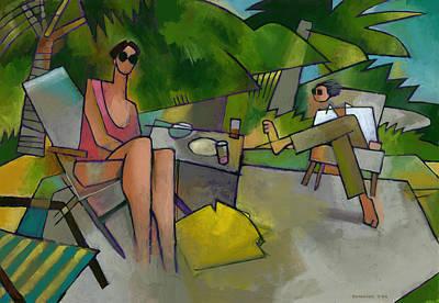 Randy Painting - Pam And Randy At Lanikai by Douglas Simonson